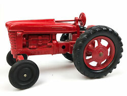 Hubley Kiddie Toy Diecast Tractor Red 490 Vintage Farm Toy Farmall M Or H