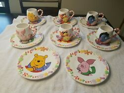 Disney Winnie The Pooh, Eeyore, Piglet, Tigger Holiday Cookie Plates And Cups