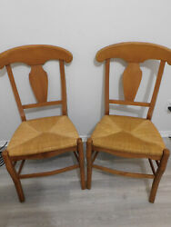 Ethan Allen Set Of Two Wicker Rush Chairs A'la Carte Farmhouse Dinning Side