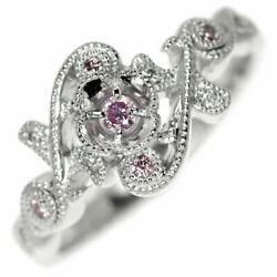 Pt900 Natural Pink Diamond Diamond Ring 0.051ct Fpp Pd0.06ct D0.02ct - Auth Selb