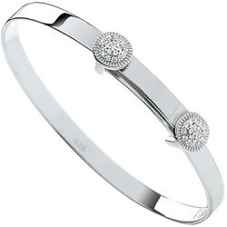 Sterling Silver Expandable Cubic Zirconia Round Studs Baby Bangle