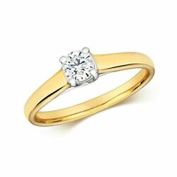 Hallmarked 9ct Yellow Gold 0.35ct Diamond Crossover Solitaire Ring Sizes J-q