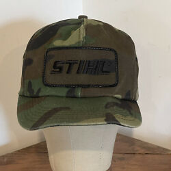 Vintage K-products Camo Snap Back Hat With Stihl Patch Made In Usa