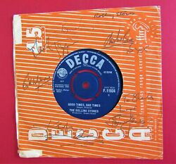 Rolling Stones Fully Signed Jones, Jagger, Watts Etc 'it's All Over Now' 45 7'