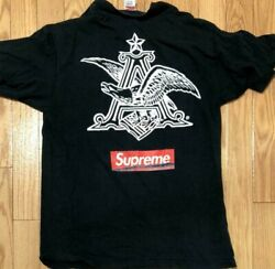 Supreme T-shirt Budweiser Black Size L 100 Cotton Made In Usa Used