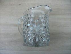 Fostoria English American Cube Glass Rare Water Pitcher Excellent Condition