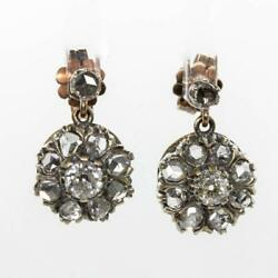Antique Victorian 18k Gold And Silver Diamond Earrings