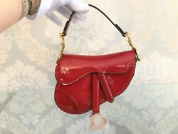 Dior / Italy Red Patent Leather Mini Saddle Bag/handbag W/ Duster And Box 3800