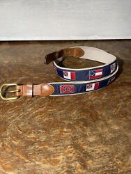"""Vintage 80's Southern Colonial Flags Belt 42"""" Brass Buckle And Leather Straps"""