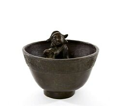 19th Century Chinese Bronze Puzzle Wine Cup With Figure Figurine 301 Gram