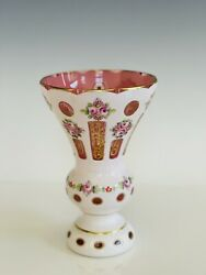 """Vintage MOSER Bohemian White Cut to Cranberry Handpainted Vase 8.5"""""""