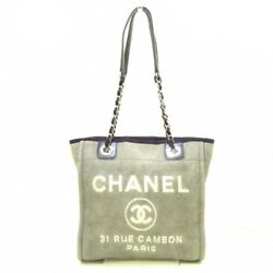 Tote Bag A66939 Deauville Pm Canvas Leather Gray Black Silver