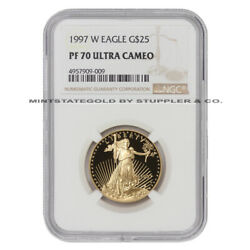 1997-w 25 Gold Eagle Ngc Pf70ucam Ultra Cameo 1/2 Ounce 22kt American Coin