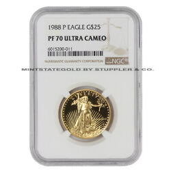 1988-p 25 Gold Eagle Ngc Pf70ucam Ultra Cameo 1/2 Ounce 22kt American Coin