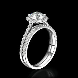 2 1/5 Ct Diamond Engagement Ring Set Round D/si1 14k White Gold Size Selectable