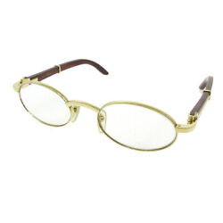 Wood Temples Glasses Eye Wear Clear France 49□20 135b Authentic 05073