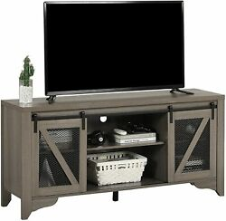 """65"""" Tv Stand Industrial Tv Console Table Tv Cabinet Farmhouse Sliding Barn Door"""