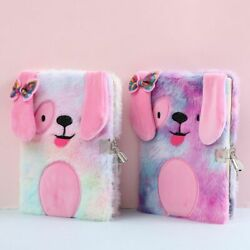Plush Notebook With Lock Cute Dog Journal A5 Diary Line Paper Planner Note Book
