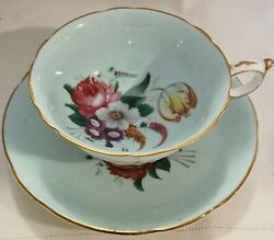 Paragon Robins Egg Blue With Floral Motif And Gold Accents Teacup And Saucer Set