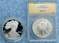 1986 S Proof Silver Eagle With Holder And 1986 Anacs Ms67 Silver Eagle , 2 Coins