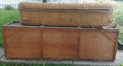 Antique Wicker Coffin Casket With Original Shipping Crate H S Eckols And Co.
