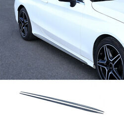 For Benz C63 Coupe 2015-2021 Black Steel Car Body Door Side Molding Sill Guard