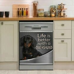 Life Is Better With A Dachshund Decor Kitchen Dishwasher Cover Decal Stickers