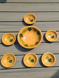 Munising Wooden Hand Carved And Painted Salad Fruit Bowl And 6 Small Bowls Ivy