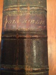 Antique Large Family Holy Bible Leather Bound 1782-1898 Entries