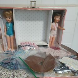 Vintage Ideal Toy Pepper And Patti Doll Lot Rare 1965 Case W/ Mommy Made Clothes