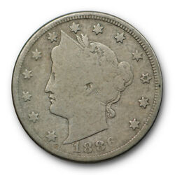 1886 Liberty Head Nickel Good G Key Date Five Cent Coin 9881
