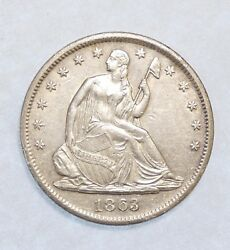 1863-s Small Broken S Liberty Seated Half Dollar Almost Unc Silver 50c Wb-102