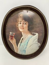 Vintage Coca-cola Flapper Girl Lithographed Tin Serving Oval Metal Tray Coke
