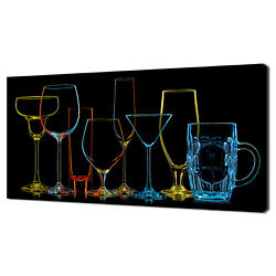 Colourful Coctail Drinks Glasses Modern Kitchen Canvas Print Wall Art Picture