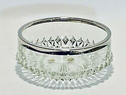 Fabulous Vintage William Adams English Hand Made Crystal Bowl With Silver Plate