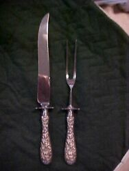 Stieff Baroque Rose And Flower Pattern Sterling Handle Stainless Steel Carving Set