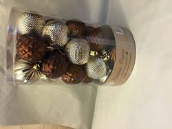 Brown and Silver Christmas Decorative Shatterproof Orbs and Ornaments Assorted