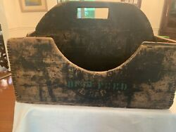 Vtg Primitive Country Store Bird Feed And Grass Seed Display Box, Wood With Handle