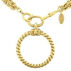Coco Logo Circle Loupe Pendant Opera Necklace 93cm Gold Plated Vintage