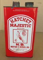 Rare Vintage Hatchet Majestic Motor Oil Can 1 Empiral Gallon Gas Station A