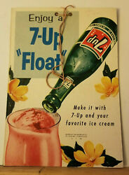 Super Rare 1950s 7up Float Hanging Sign Lithiated Lemon Soda Acidity Hand Overs