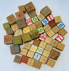 Vintage Antique Old Lot Of 54 Distressed Wood Alphabet Letters Play Blocks