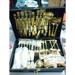 Wm. Rogers And Son 78 Piece Gold Plated Flatware Set W/ Case Nib 18 Service