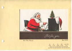 Vintage Christmas Santa Claus Office Manager Telephone Switch Board Tree Card