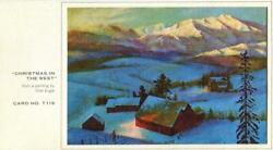 Vintage Christmas West Valley Snow Mountains Ranch Cabin Farm Chet Engle Card