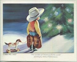 Vintage Christmas Cowboy Boy Child Chaps Spurs Boots Tree Horse Toy Snow Card