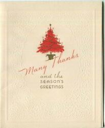 Vintage Christmas Embossed Red Tree Gold Seasonand039s Thank You Old Greeting Card