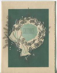 Vintage Christmas Art Nouveau Silver Green Wreath Holly Pine Cones Greeting Card