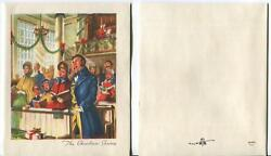Vintage Victorian Christmas Colonial Church Mass Service Pews Carolers Sing Card