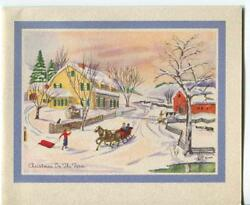Vintage Christmas Yellow Garrison Colonial House Village Sleigh Greeting Card